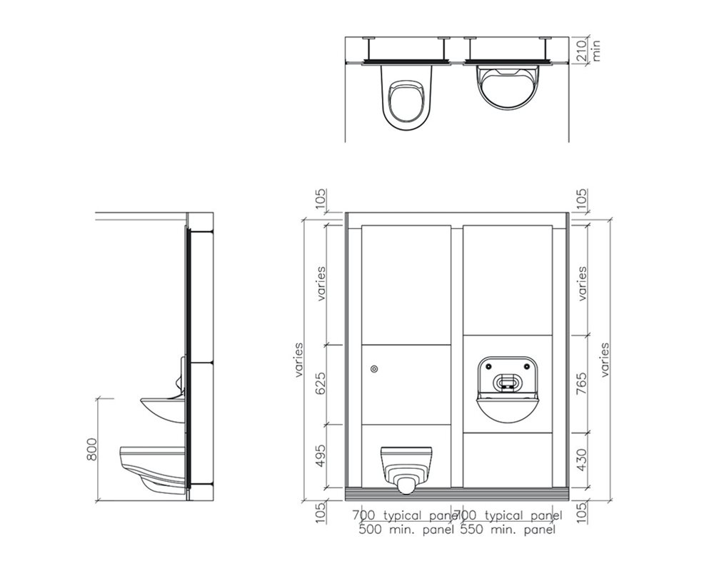 Healthcare low risk wall hung WC technical drawing