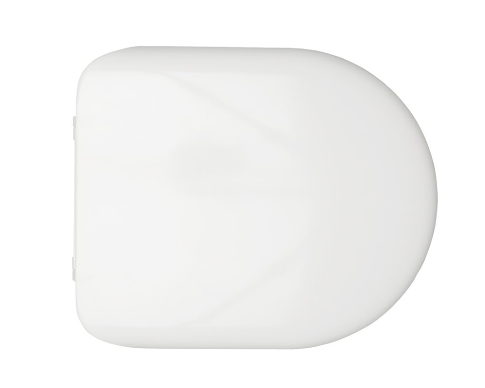 Chartham soft close white toilet seat and cover on a white background