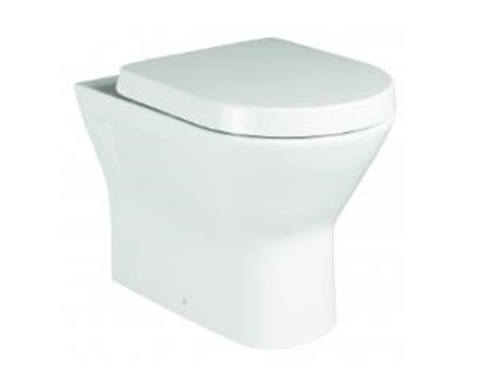 Langley soft close white toilet seat and cover, on the WC, with a white background