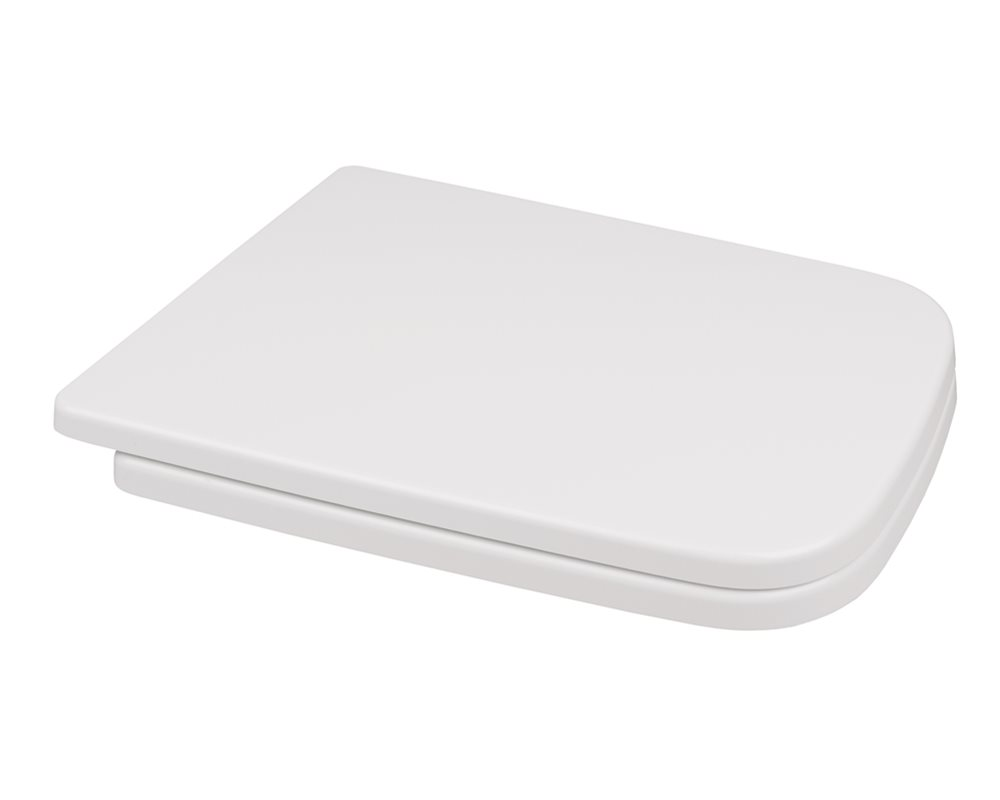 Marden soft close white toilet seat and cover with a white background