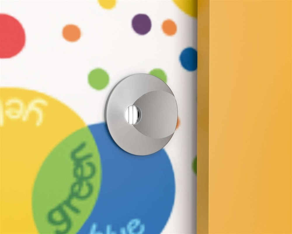 Cubicle faceplate on Kids Stuff toilet cubicle door in 'Colour Creations' kids print and Pilaster in 'Honeydew' colour