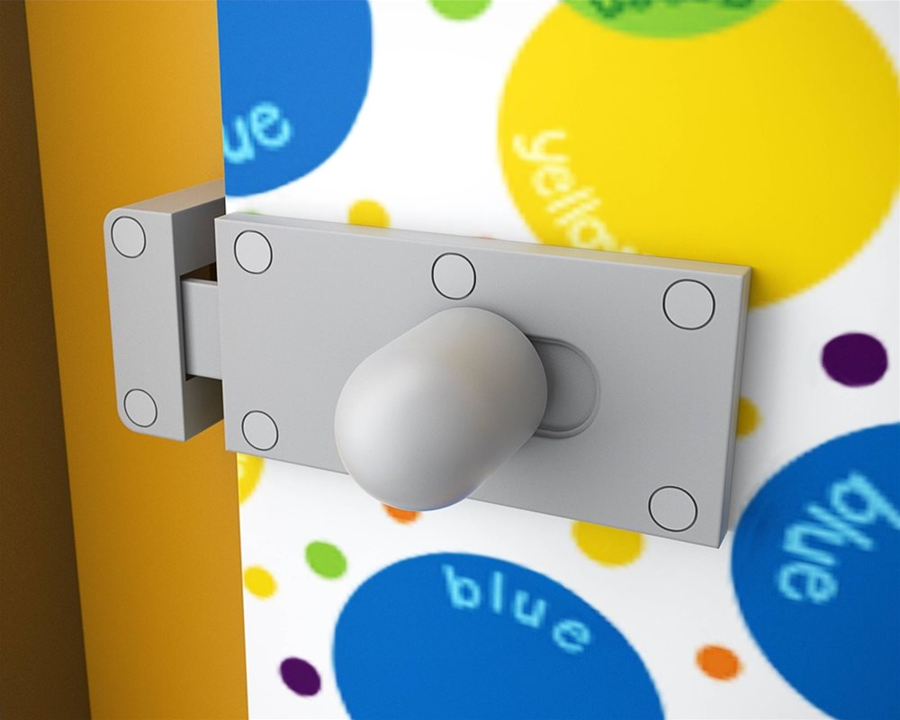 Cubicle lock on Kids Stuff toilet cubicle door in 'Colour Creations' kids print and Pilaster in 'Honeydew' colour