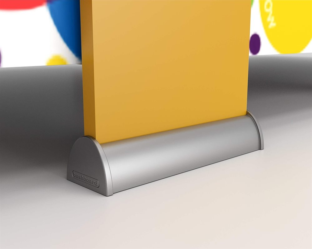 Kids Stuff primary school toilet cubicle pilaster foot in Silver with yellow 'Honeydew' pilaster