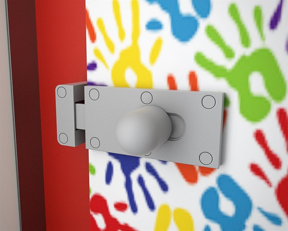 Tiny Stuff nursery cubicle lock with 'Hand Prints' digital printed doors and 'Bright Red' colour pilasters