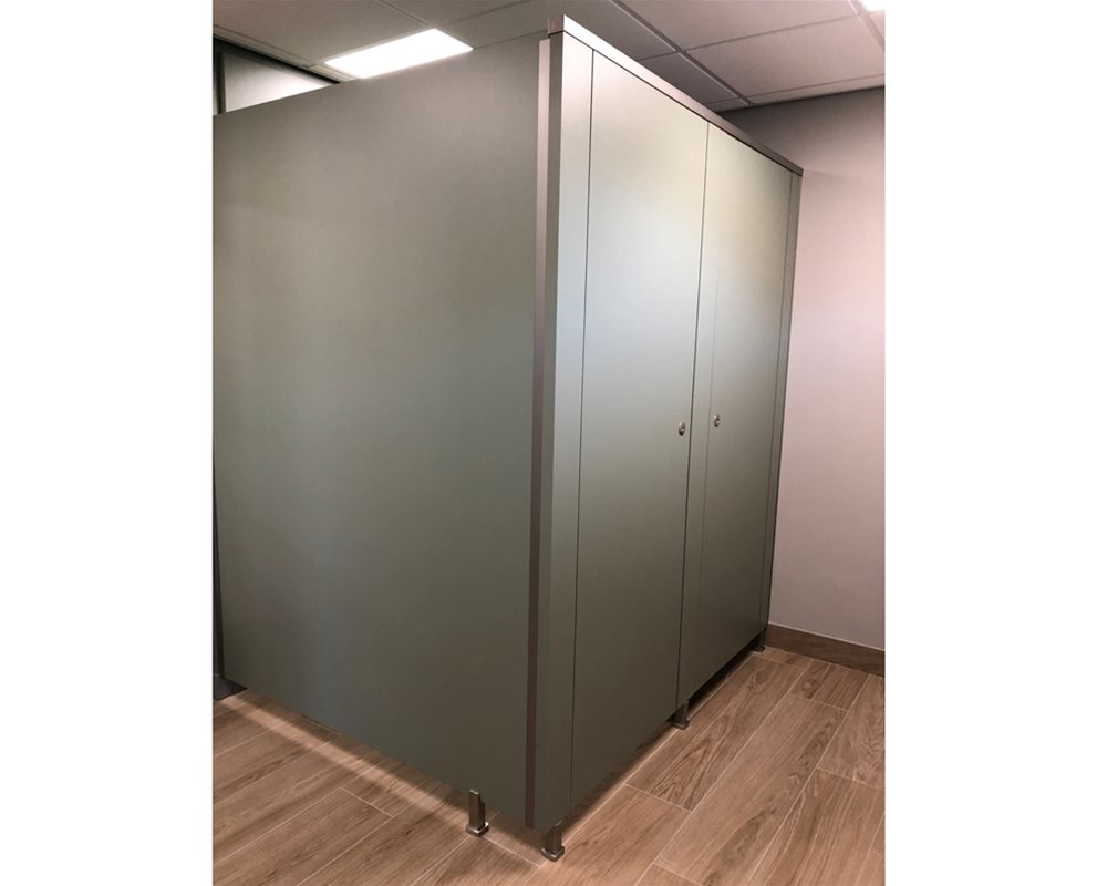 Bushboard Washrooms | Definition Toilet Cubicles | Sage Green Colour