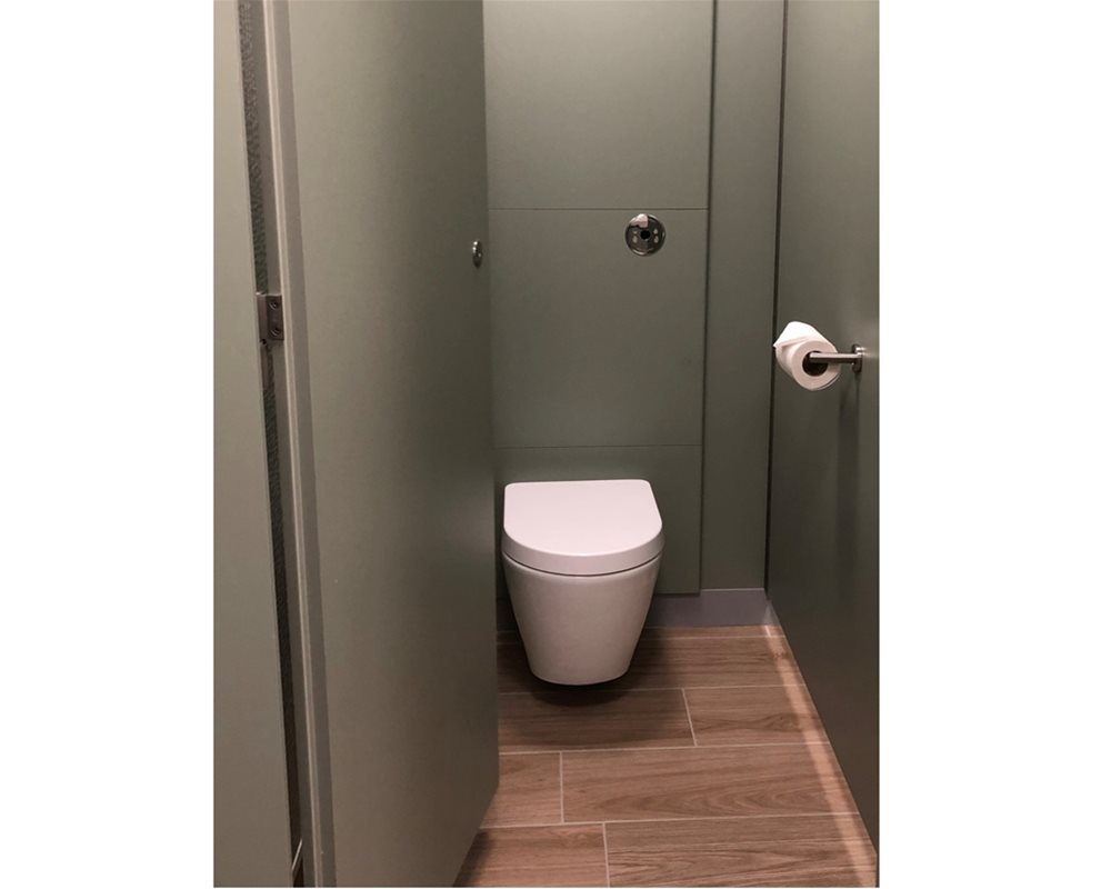 Bushboard Washrooms | Definition Toilet Cubicle | Sage Green Colour