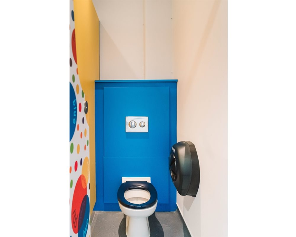 Bushboard Washrooms | Profiles Kids school toilet cubicles | Colour Creations laminate