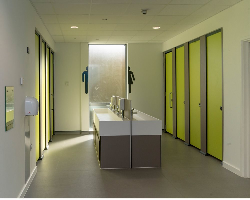 Bushboard Washrooms | HiZone toilet cubicles | Zest Green