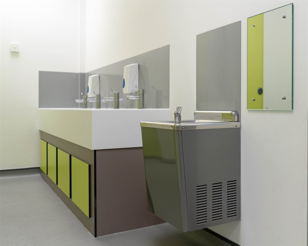 Bushboard Washrooms | solid surface Hydra washtroughs