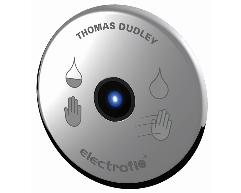 Chrome dual sensor flush plate on white background