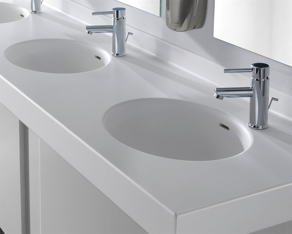 Integral Solid Surface basin in 'Elysian' white Solid Surface vanity unit
