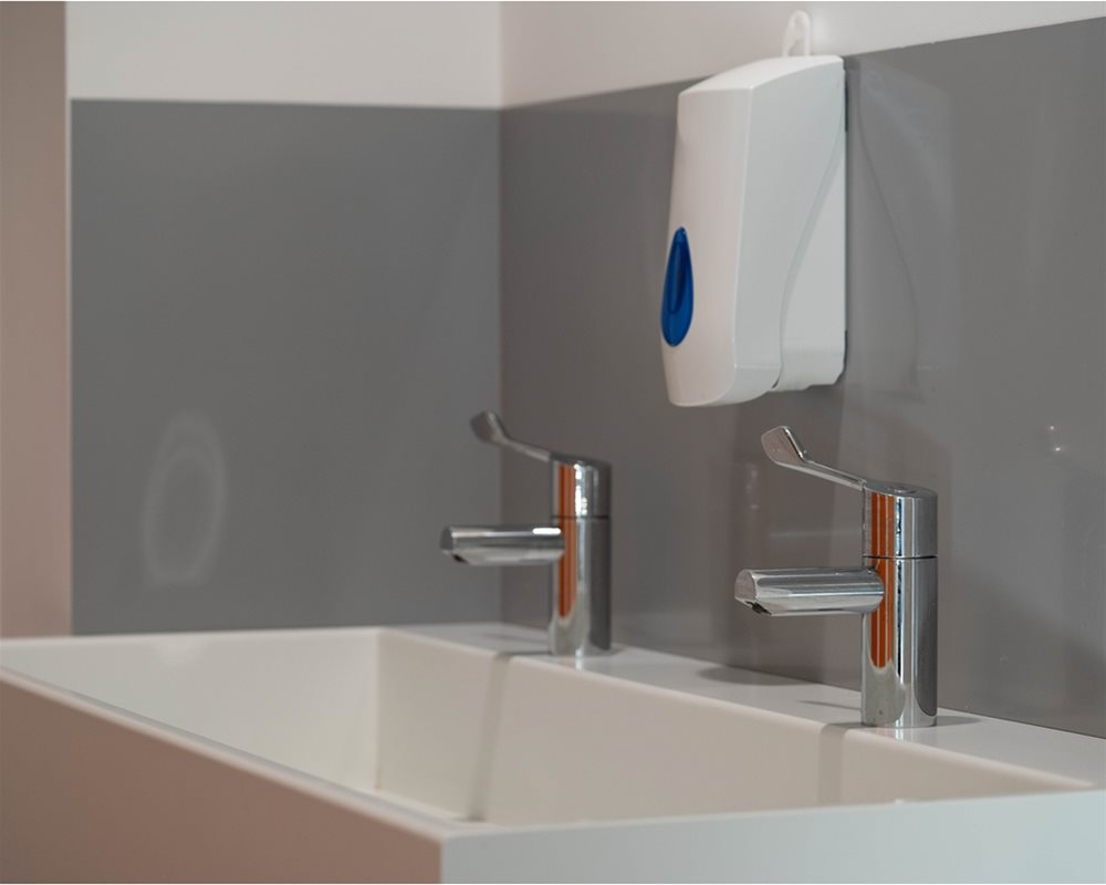 'Elysian' white Solid Surface washtrough with lever taps