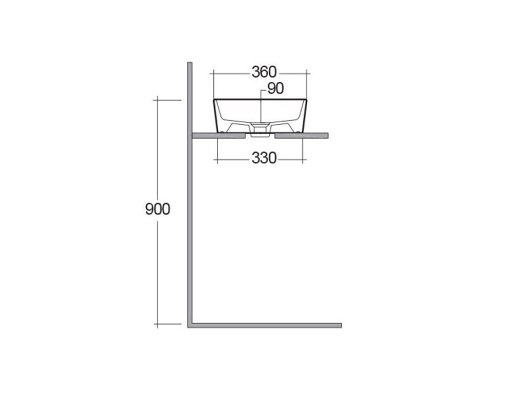 Side elevation technical drawing of 'Langley' rectangular vessel basin