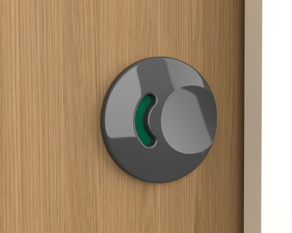 Grey faceplate on a 'Oak' cubicle door