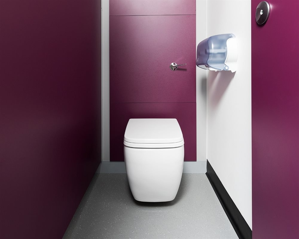 White ceramic Marden wall hung WC on 'Mulberry' purple panels
