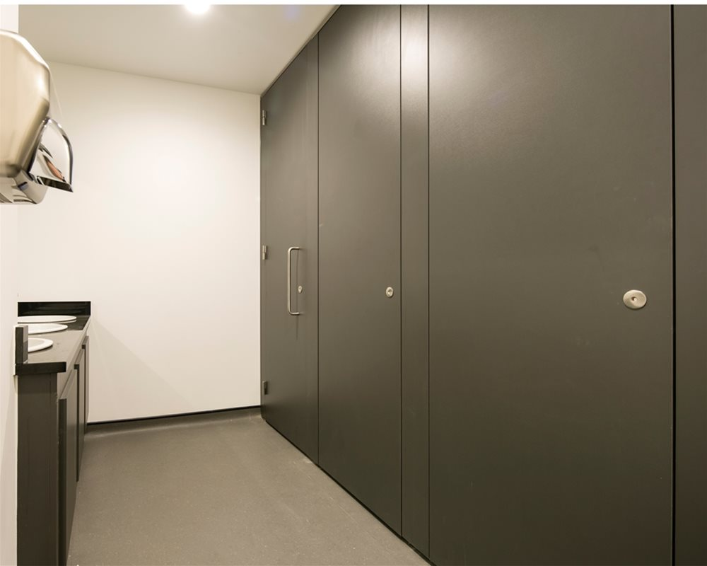 Definition flush fronted toilet cubicles in 'Welsh Slate' grey for County Hall