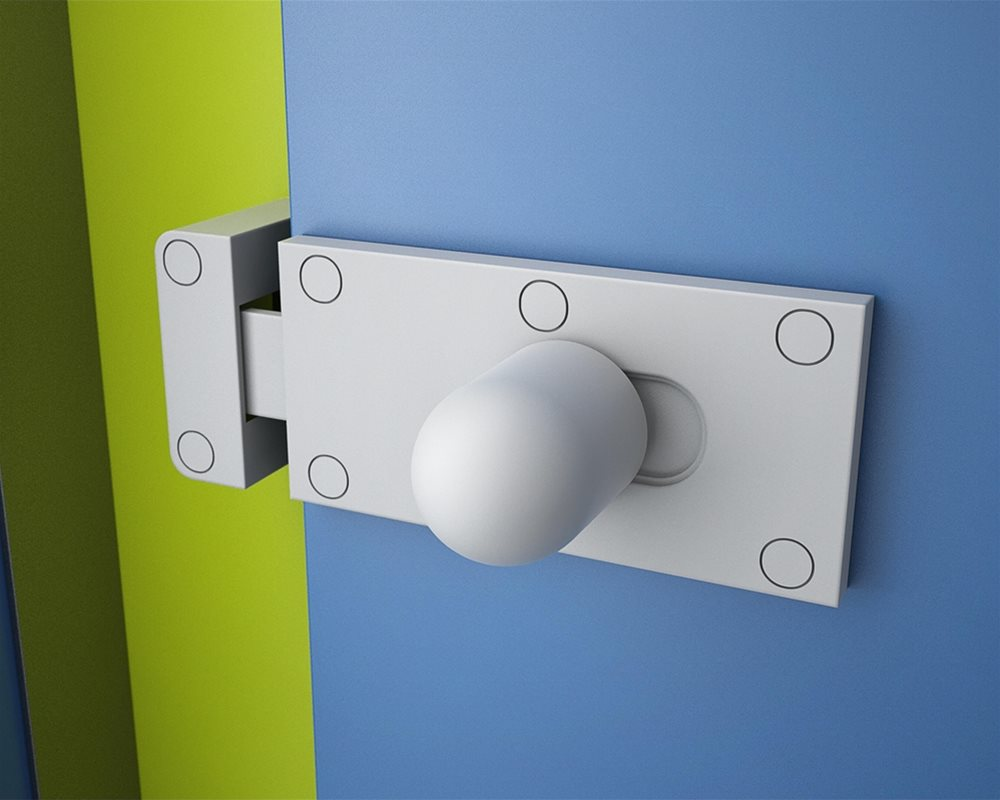 Cubicle Lock on Profile toilet cubicle door in 'Colbalt' colour with Pilaster in 'Zest' colour