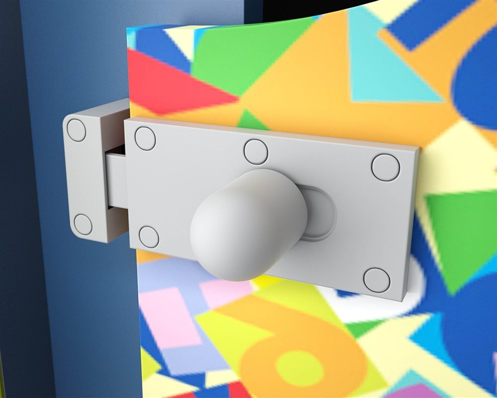 Cubicle Lock on Profile Kids toilet cubicle door in 'Jumble Blocks' kids print and Pilaster in 'Cobalt' colour