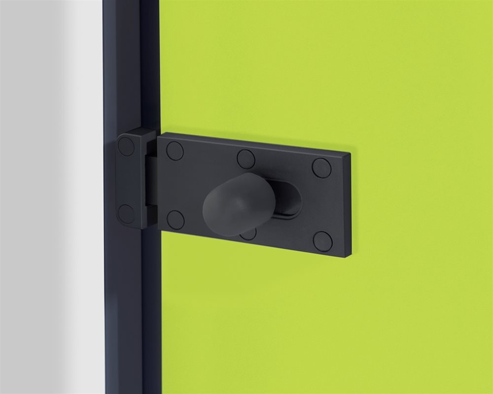 Cubicle Lock on Quadro toilet cubicle door in 'Zest' colour