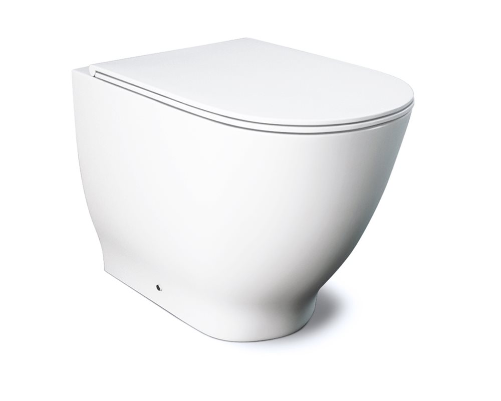 Ceramic white 'Langley Curve' back to wall WC on white background