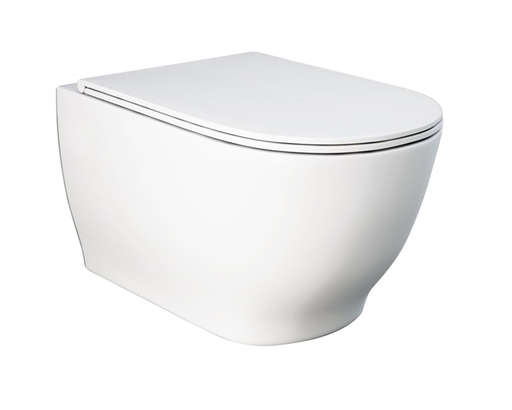 White ceramic wall hung WC on white background