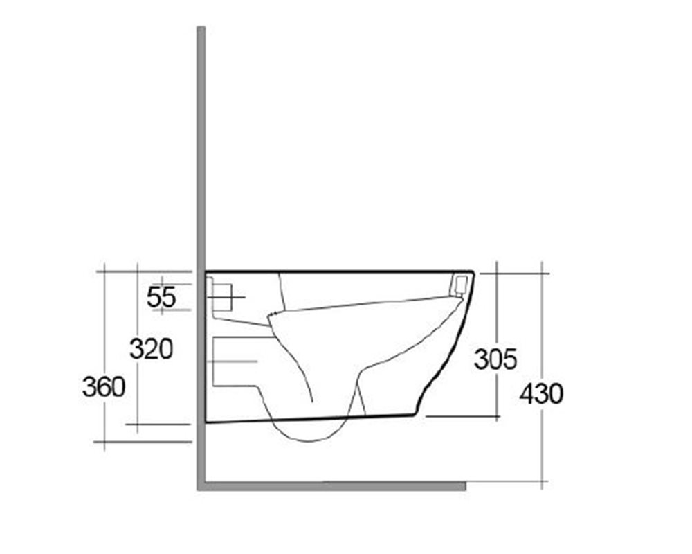 side elevation technical drawing of 'Langley Curve' wall hung WC