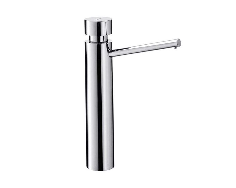 tall stainless steel liquid soap dispenser on white background