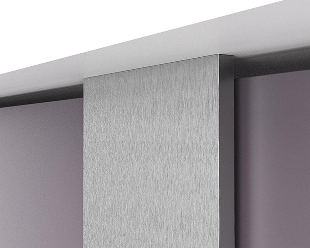 Aluminium in brushed stainless steel effect Pilaster and headrail